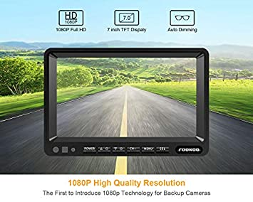 Fookoo HD Backup Camera System Kit,7 1080P Reversing Monitor IP69 Waterproof Rear View Camera,Sharp CCD Chip, 100 Not Wash Up,Truck Semi-Trailer Box Truck RV FHD2-Wired