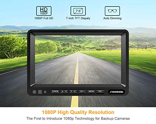Fookoo Ⅱ HD Backup Camera System Kit,7''1080P Reversing Monitor+IP69 Waterproof Rear View Camera,Sharp CCD Chip, 100% Not Wash Up,Truck/Semi-Trailer/Box Truck/RV (FHD1-Wired) by Fookoo (Image #1)