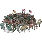 UMKYTOYS 306 Plastic Toy Soldiers for Army Military War Games Soldier Men Military Figures With 4 Combat vehicles
