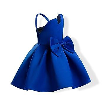 FXFAN Vestido de Encaje de Flores de Niña Vestido de Fiesta de Bodas de Color Rosa