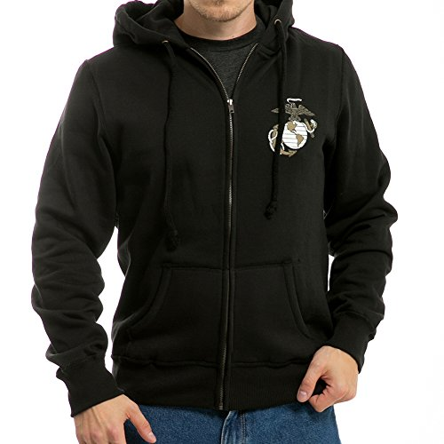 RD Printed Full Zip Military Fleece Hoodies (Marines Black, Medium) - Printed Full Zip Fleece