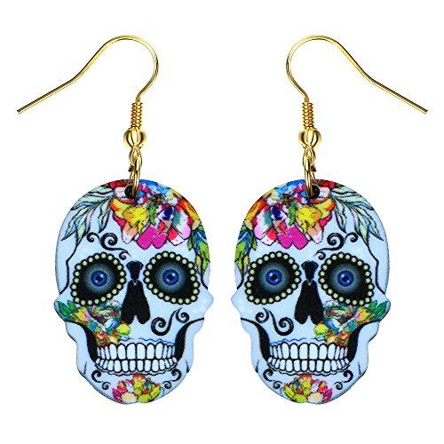 (Liavy's Day of the Dead Sugar Skull Fashionable Earrings - Acrylic - Fish Hook -)