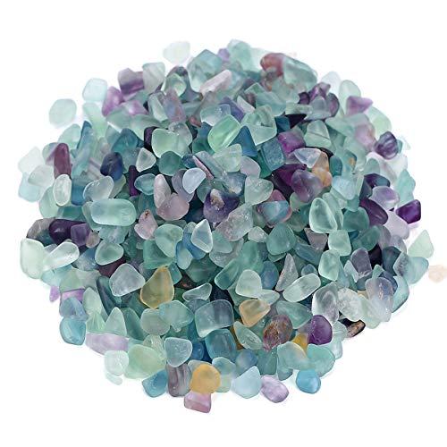 favoramulet Fluorite Tumbled Stone Chips, Polished Crushed Healing Crystal Quartz Pieces Vase Filler 1 - Chip Crystal Quartz