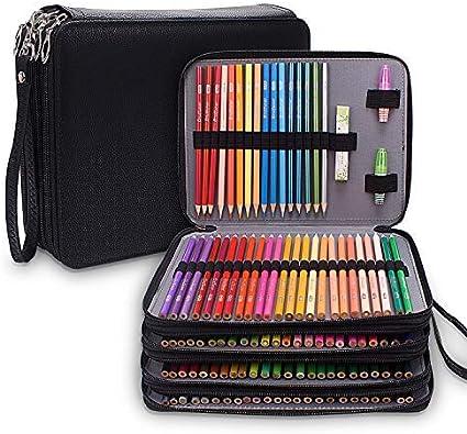 Estuche grande de piel sintética con 184 ranuras para lápices de colores, bolsa impermeable de 4 capas, estuche para lápices, color negro: Amazon.es: Hogar