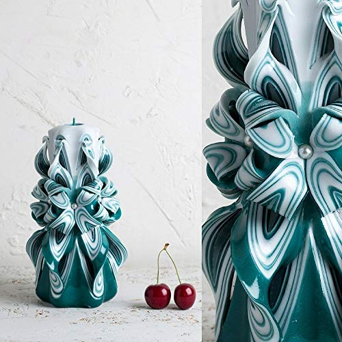 Carved Candle Turquoise and White - Gift Ideas for Birthday - Decorative Hand Carving - ()