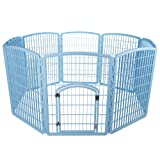 IRIS 34'' Exercise 8-Panel Pet Playpen with Door, Blue