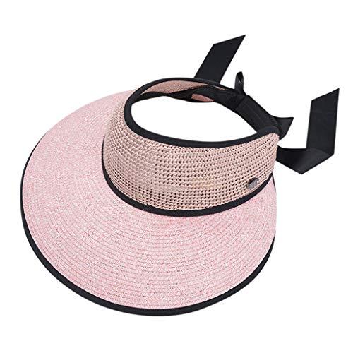 Drssin Women's Straw Sun Visor Fashion Summer Foldable Beach w/Cute Bowtie Sunhat Hats Pink