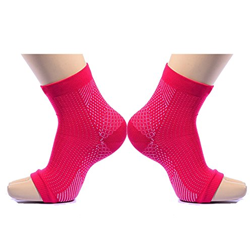 Plantar Fasciitis Socks , Compression Foot Sleeves with Arch & Heel Support Treatment forWomen Best for Insoles Relief (Rose red S/M) (Gifts Forwomen)