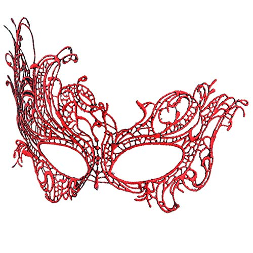 BaiYunPOY Mask Lace, Womens Masquerade Venetian Mask for Carnival Party (Masks Red Masquerade)