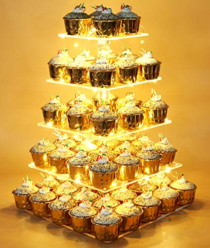 Vdomus Pastry Stand 5 Tier Acrylic Cupcake Display Stand with LED String Lights Dessert Tree Tower for Birthday/Wedding