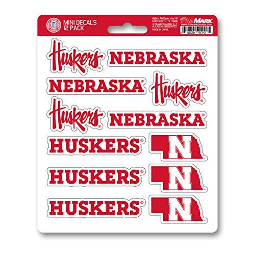 ProMark NCAA Nebraska Cornhuskers Decal Set Mini (12 Pack), Team Color, One Size