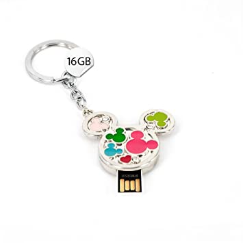 Memoria USB con diseño de Mickey Mouse 16 GB llavero plata ...