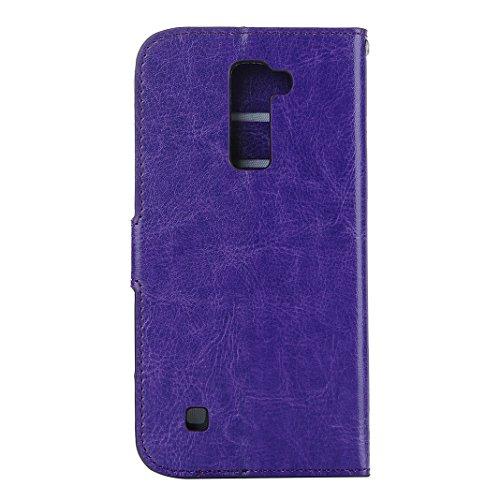 LG K10 Funda K10 Piel Carcasas Rosa Schleife® Movil LG K10 PU Cuero Wallet Funda Cárcasa Tapa Estuche Cartera Plegable de Bolsillo Hoja Flip Libro Billetera con Cierre Magnético Soporte Caja para LG K Púrpura