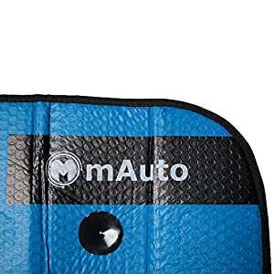 mAuto UV Deflector Reversible Double Layer Car Windshield with Suction Cup, 27.6 X 51.2-Inch, Blue and Silver