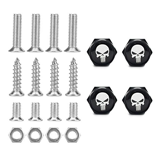 Dsycar Chrome Metal Skull Logo Anti-theft Car License Plate Bolts Frame Screws,Pack of 4(Black)