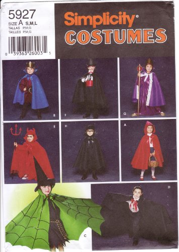 Simplicity Sewing Pattern 5927 Childs' Halloween Costumes: Cape, Robe & Headpieces (Dracula Child Costume)