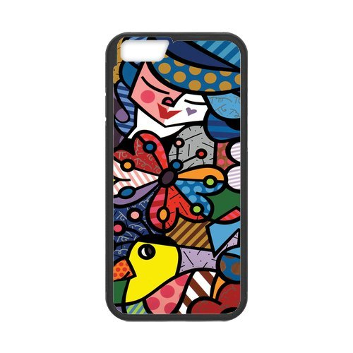 Fayruz- Personalized Protective Hard Textured Rubber Coated Cell Phone Case Cover Compatible with iPhone 6 & iPhone 6S - Romero Britto Cartoon F-i5G974
