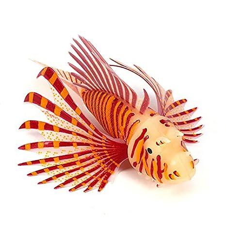 Pez Leon artificial para decoracion de acuario o pecera de 5 cm color rojo: Amazon.es: Hogar