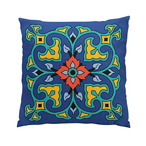 Hahala Romantic Vintage Catalina Island Tile Design Hidden Zipper Home Sofa Decorative Throw Pillow Cover Cushion Case Square 18x18 Inch Two Sides Design Printed -