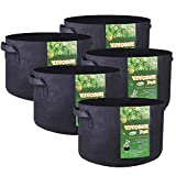 VIVOSUN 5-Pack 25 Gallons Heavy Duty Thickened Nonwoven Fabric Pots Grow Bags with Handles