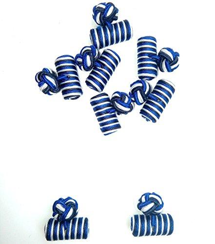 Silk Knot Cufflink Set Shirt Cufflinks For Men Women Barrel Cufflink (royal) - Blue Knot Cufflinks