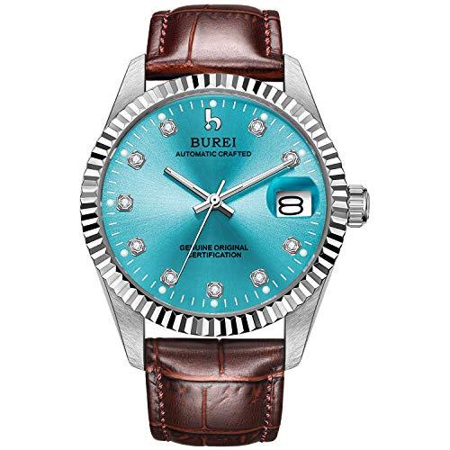 BUREI Men's Modern Automatic Watch Blue Dial Calendar Date Display Sapphire Crystal Lens Brown Leather Strap