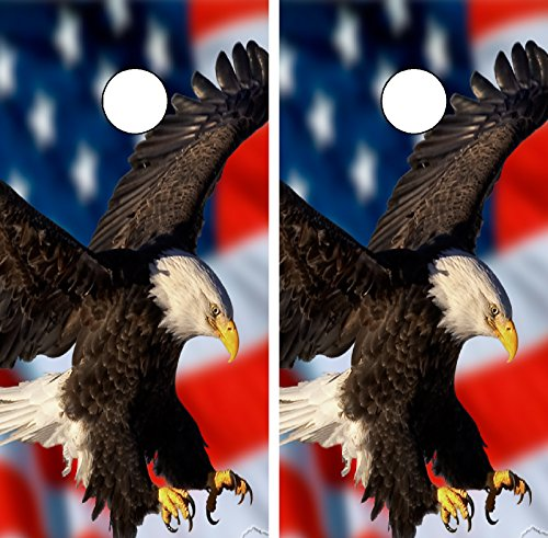 C210 American Flag Eagle Cornhole WRAP Wraps Laminated