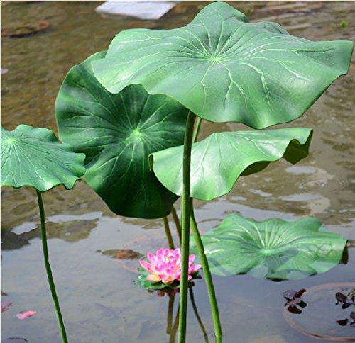 Artificial Pond Plants (Artificial Stem Lotus Leaf Lifelike Simulation Faux Flowers Silk Lotus Water Lily Pond Leaf Decoration Photo Props (2, 28cm lotus leaf))