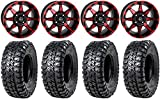 Bundle - 9 Items: STI HD6 14'' Wheels Red/Black 28'' Chicane RX Tires [4x156 Bolt Pattern 3/8x24 Lug Kit]