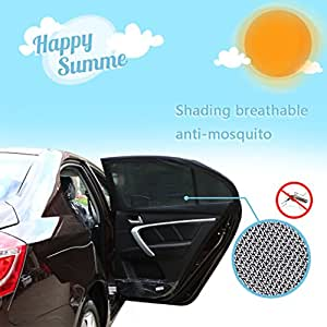 TOBETE Nylon Mesh Car Window Shades Baby Car Sunshade Double Layered Mesh Car Windows Cover Tool