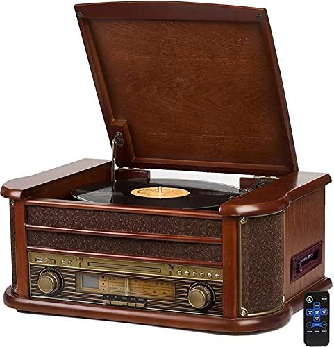 Nostalgie houten muzieksysteem | Bluetooth | cassettedek | compact systeem | retro stereo systeem | platenspeler | radio…