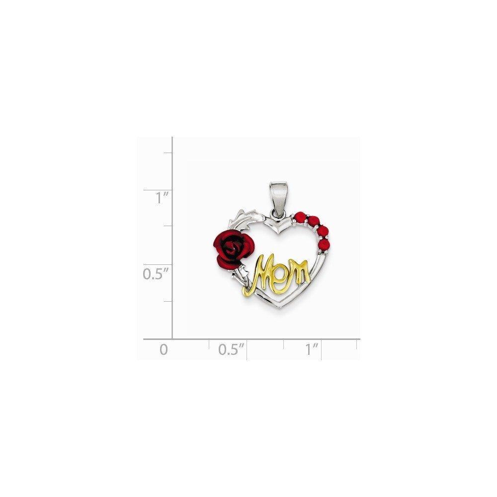 Sterling Silver Vermeil Pink Flower /& CZ Mom Pendant 0.87 in x 0.79 in