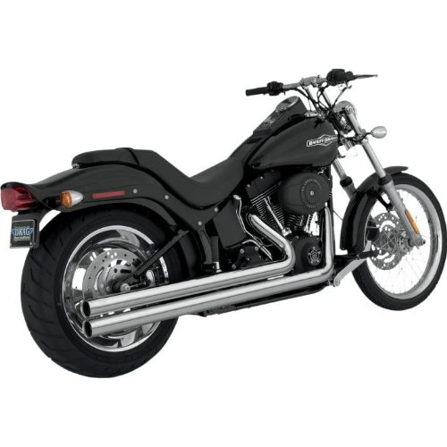 Vance and Hines Big Shots Long Chrome Full System Exhaust for Harley Davidson 1 - One - Hines Big Shots Chamber Power