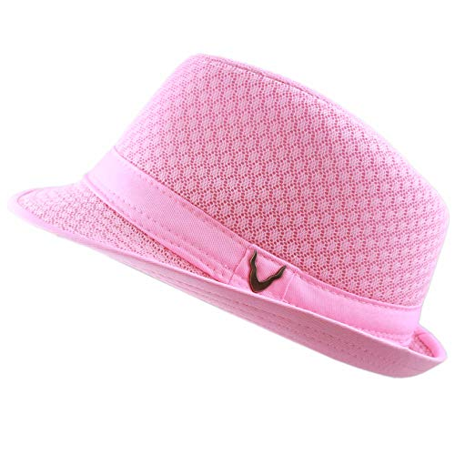 THE HAT DEPOT 200G1015 Light Weight Classic Soft Cool Mesh Fedora hat (S/M, Lt. Pink)
