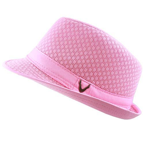 THE HAT DEPOT 200G1015 Light Weight Classic Soft Cool Mesh Fedora hat (S/M, Lt. Pink)]()