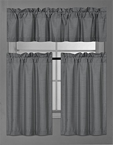 Elegant Home Collection 3 Piece Solid Color Faux Silk Blackout Kitchen Window Curtain Set with Tiers and Valance Solid Color Lined Thermal Blackout Drape Window Treatment Set #K3(Charcoal / Dark (Valance Silk Curtain)