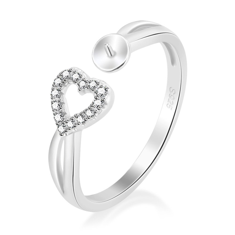 LGSY 925 Sterling Silver Adjustable Heart Open Ring In CZ Right-Hand Promise Ring DIY Pearl