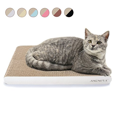 AMZNOVA Cat Scratchers, Cardboard Cat Scrattcher, Scratching Pad, Cat Scratch Lounge, Colors Series, Wide, Ivory