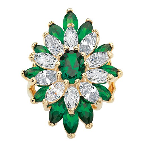 Palm Beach Jewelry 14K Yellow Gold-plated Oval and Marquise Simulated Emerald and Cubic Zirconia Flower Ring Size (Palm Womens Ring)