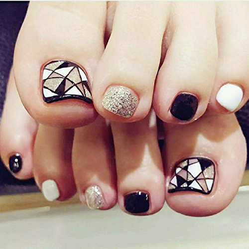 24Pcs Seal Black White Silver Triangle Geometry Toe Short False Nails Artificial (Halloween Nail Designs Toes)