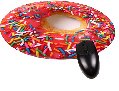 Pink Frosted Donut - Round Mouse pad - Stylish, Durable Office Accessory Made in the USA