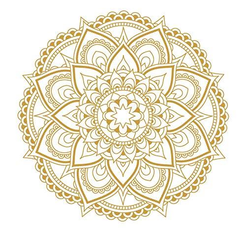 Mandala Flower Wall Decal Vinyl Sticker Boho Bedroom Decor Stickers Wall Art Decor Meditation Yoga Mural WU293 (Gold) (Wall Decal Mandala)