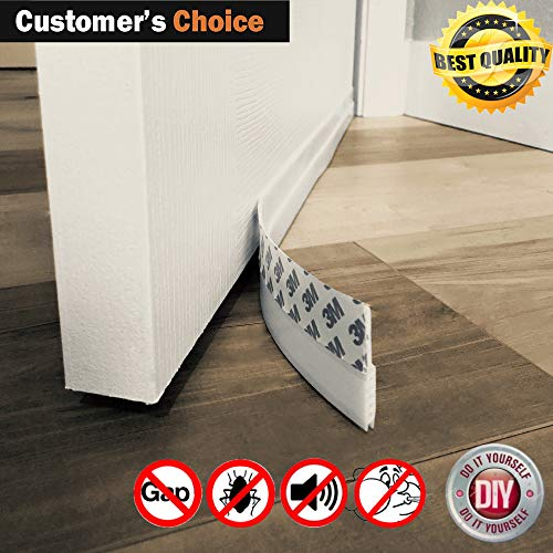 Door Draft Stopper  High Performance Silicone Door Sweep w VHB Adhesive 3M Strip | Draft Blocker for Under Door Seal Gap Interior & Exterior Doors Weather Stripping Soundproof | Draft Guard Insulator
