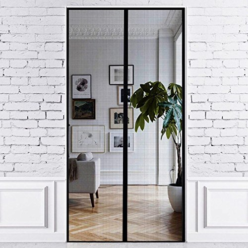 PREMIUM MAGNETIC FIBERGLASS MESH SCREEN DOOR By Just Relax - Magnetic Seal To Keep Bugs Out, Fresh Air In, Great For All Doors, Patios, Easy Install, SCREEN 36x83 Inches, FITS DOORS 34x82 Inch (Black)