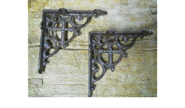 """Lot 4 Antique-Style Cast Iron RUSTIC X-LARGE 13/"""" x 13/"""" SHELVING BRACKETS Braces"""