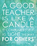 a good teacher is like a candle it consumes itself to light the way for others teacher gift appreciation notebook and journal lined composition inspirational notebook series volume 8
