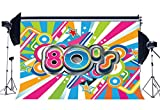 Gladbuy Vinyl Happy 80's Theme Backdrop 7X5FT Graphic Hip Hop Style Backdrops Photography Multicolor Rays Twinkle Stars Graffiti Music Club Background for 1980 Person School Photo Studio Props BL20