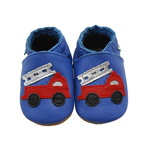 Sayoyo Suaves Zapatos De Cuero Del Bebé Zapatillas Vehículos Construcción Azul