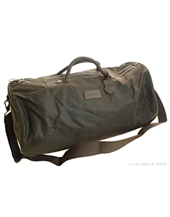 6ec3b85abb1 Amazon.com | Barbour Holdall Waxed Cotton Bag - Olive (Olive) | Luggage &  Travel Gear