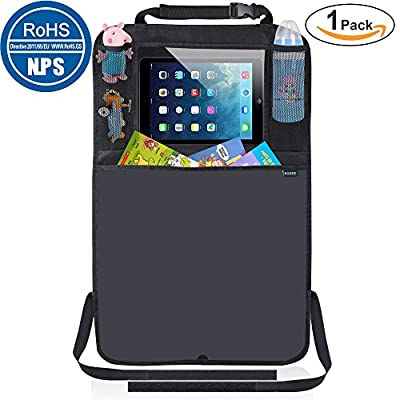 """Kick Mats Car Seat Back Protector Organizer with 10.1"""" Tablet Holder Car Travel Accessories for Kids Baby"""